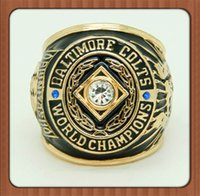 baltimore colts - For New Baltimore Colts Super Bowl Championship Ring Replica Gold Plated Alloy Rings For Men