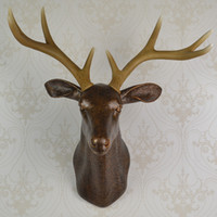 wall sculpture - wall mounted brown buck bust whitetail deer head trophy wall art plaque hunt sculpture faux taxidermy modern hanging home decor