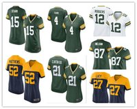 aaron rodgers authentic jersey - women football Jerseys Green Bay cheap Packers Aaron Rodgers jerseys Jordy Nelson Game authentic football shirt size S XL
