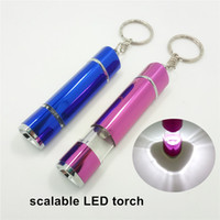 Wholesale 2016 HOT selling Mini Keychain flashlight telescopic small LED flashlights key chains aluminum scalable flashlight mini LED key rings light