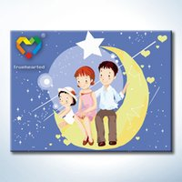 Wholesale Happy Family DIY Painting Baby Toys x40cm Digital Canvas Oil Painting Kids Drawing Toys Set for Colleague Gift with Green Acrylic