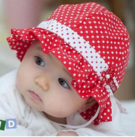 Summer baby girl bucket hat - Kids Toddlers Baby Girls Sun Hat Polka Dot Flower Bucket Cap Bowknot Pearl Hat