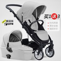 baby stroller with bassinet - Luxury baby stroller with carrycot pram set in baby stroller trolley baby car child folding cart bassinet light