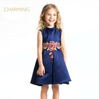 ball gowns suppliers - Navy blue dress for girls Designer children s clothing Quality printing high necked sleeveless dress Best suppliers from china