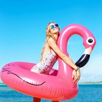 Wholesale 120CM Giant Swan Inflatable Flamingo Float New White And Pink Swan Inflatable Floats Swimming Ring Raft Swimming Pool Toys For Adult