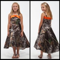 Wholesale New Fashion Spaghetti A Line Realtree Camo Flower Girls Dresses High Low Camouflage Formal Wear Kids Children Toddler Pageant Party Gowns