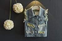 Wholesale New Baby Kids Clothing Fashion Denim Jackets with letter and star sleeveless outwear for