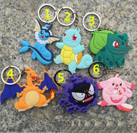 Wholesale 5 cm Color Poke Silicone Pendant Pikachu Poke Ball Keychain Alloy Figures Japan Craft Hot Anime Collection Kids Gifts Toy K7698