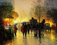 art stroll - Strolling in the Rain Genuine Handpainted Animal Portrait Art oil Painting On Canvas for home decor Museum Quality
