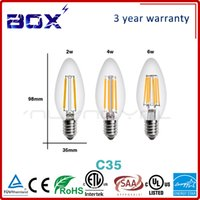 Wholesale Lampada de LED Edison Bulb E14 V W W W W Bombillas LED Filament Lamp Vintage Antique Retro Candle Glass Light