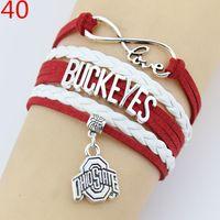 baseball gift wrap - 45 style Infinity Baseball Charm Wrap Bracelets Softball Pendants Bracelets Sport Love Leather Wax Unisex Women Men Girl Jewelry Gift Custom
