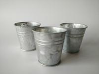 basket planter - cheap Silvery Color Metal Planter small Galvanized garden bucket Mini Nursery Pot