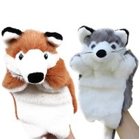 bedtime story kids - Funny Fox Hand Puppet Cartoon Plush Hand Puppets Baby Kids Doll Plush Toys Bedtime Story Telling Toy Brown Grey