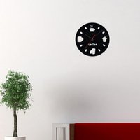 Wholesale DIY Wall Clocks Modern Design Coffee Cola Cup Mirror Wall Clocks Home Living Room Decor Clock