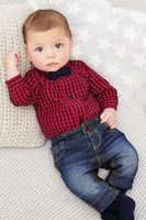 bebe jeans - 2016 new red plaid rompers shirts jeans baby boys clothes bebe clothing set