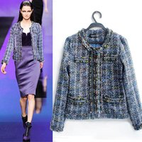 Wholesale Vintage Plaid Wool Coats For Women Blue Beaded Jacket Short Trench Coat Ladies Winter Tweed Jackets Overcoat