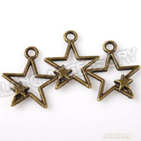 Wholesale Hot Sale Top Quality Trendy Bronze Tone Hollow Two Stars Alloy Pendant For Jewelry Findings Making mm