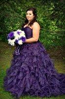 purple plus size wedding dresses - Gorgeous Plus Size Purple Wedding Dresses Sweetheart Ruffles Backless Sweep Train Elegant Maxi Arabic African Bridal Gowns Vestidos De Noiva