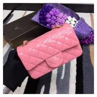 Wholesale 2016 Famous Luxury Brand Women Genuine Leather Handbag Original Quality New Style Sweet Color CF Mini Chain Bag Patent Flap Bag cm Color