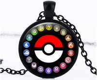 Wholesale New Poke Halder Necklace Retro Pocket Monster chainTime Gemstone Ball Pendant Necklace Jewelry Gifts Xmas