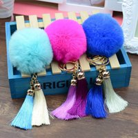 ball pliers - New Arrival Cute Rabbit Fur Ball Key Chain Keychain llaveros mujer Fluffy Fur Pom Pom chain Pliers Knife Screwdriver Key Chain Llaveros