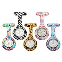 Wholesale Nurse Pocket Watch Silicone watches Candy Colors Zebra Leopard Prints Soft band brooch Nurse Watch patterns follower DHL free