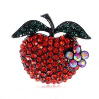 apple shaped figure - Red Rhinestone Apple Shape Brooch PIN Hot Sell MM