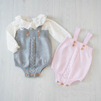 baby long sleeve bodysuits - 2016 Autumn New Girl Bodysuits Knitted Cotton Sleeveless Princess Jumpsuit Baby Clothing Not have shirts