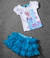 baby princess tees - children girl Elsa T shirts Tutu Skirts set baby toddler party outfit cartoon Tops Tees kids princess Cosplay Costumes cotton Clothing Sets
