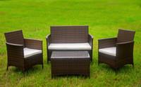 beige sofa set - 4 Piece Patio Rattan Furniture Set Cushioned Outdoor Garden Wicker Rattan furniture with Beige Cushion Wicker rattan Sofa Furniture Set