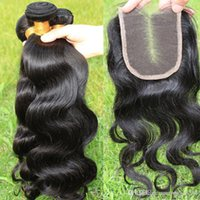 24 inch clip in human hair extensions - Lace Weave and Closure Top Hair Bundles Brazilian Virgin Hair Extension Body Wave Natural Color Remy x4 Human Hair