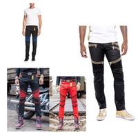 Wholesale 2016 New rock biker jeans men Elastic Slim denim Jeans high fashion designer famous brand rock mens jeans us size