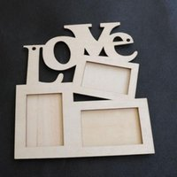 Cheap Photo Frame Hollow Love Wooden White Base DIY Picture Frame Art