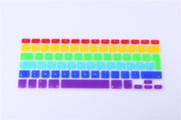 Wholesale For Macbook Pro quot quot quot A1278 A1286 A1398 for Mac book Air Film Rainbow Clavier French AZERTY Keyboard Cover Skin Film