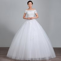 Wholesale Ball Gown Wedding Dress Ivory Floor length Off the shoulder Satin Tulle