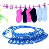 Wholesale Creative travel clothesline spandex rope outdoor clothes airing rope clip windproof antiskid clip