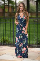 amazon sales - Hot sale European fashion printed dresses amazon sells deep v neck sleeveless dress summer dress l