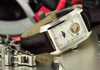 Cadeau de Noël Luxe Vintage 2 broches Hommes marque marron cuir montre automatique mécanique mens montre blanc cadran mens mensuel montre-bracelet