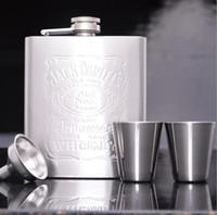 Wholesale New Jack Daniels oz Hip Flasks glasses Funnel Stainless Steel Hip Flask Alcohol Flask Pocket Flask Men Wine Flask