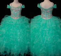 Wholesale Cheap Infant Gowns - Teal Green Flower Girls Dresses Crystals Long Little Girl's Pageant Todder Kids For Girl Infant 2016 Cheap Glitz Communion Prom Ball Gowns
