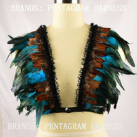 Wholesale New Women Fashion Sexy Feather Bra Feather Bralette Pentagram Harness Bondage Lingerie dance costume Rave Wear festival Clothing