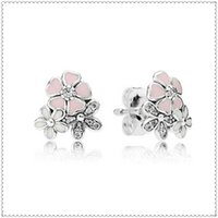 Cheap 100% High-quality 925 Sterling Silver Poetic Blooms Stud Earrings with Cz Fits European Charm Jewelry Earrings