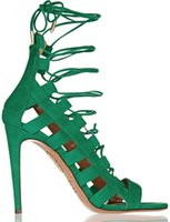 Wholesale aquazzura green suede gladiator back zipper women sandals party shoes heel highs good quality