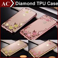 Роскошные побрякушки Алмазный гальваническим кадр Мягкий чехол для ТПУ iPhone 5 SE 6 6S Plus Galaxy S6 S7 Край J5 Secret Garden Flower Clear Skin Cover