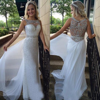 Wholesale 2016 evening gowns scoop neck formal dresses evening wear beaded rhinestone sheath sequined dresses with chiffon overskirts prom dressess