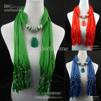 Wholesale New Fashion Women Beads Soft Jewelry Pendant Necklace Scarf Stole Shawl Neck Wrap Gift