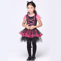 baby kitty halloween costumes - Halloween Girls Kitty Costumes Children Cat Girl Cosplay Fancy Ball Pink Lace up Tulle Tutu Dresses Baby Kids Party Dancing Dresses