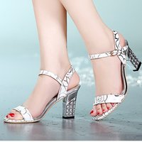 Wholesale Cool Pink High Heel Shoes - 2016 summer new shoes diamond plating thick with high-heeled sandals fish head word buckle cool free shipping 35-39