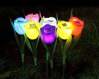 Precio de Luces led solar led solar-Luces intermitentes Novedad Solar LED Al aire libre Luz Camino Paisaje Rosa Lámpara Brillante Navidad Colorido Decoraciones Al Aire Libre Yard Garden