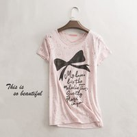 Wholesale women T shirts pink bow printing cotton blend Girls Tee Shirt Casual Chic Summer
